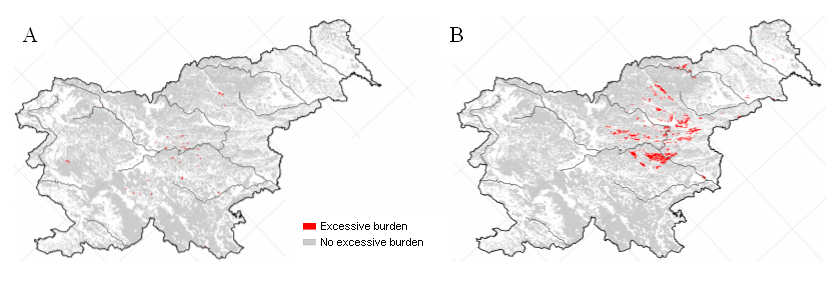 Excessive burdens on forest ecosystems of nitrogen, causing eutrophication (A) and with nitrogen compounds and sulphur, causing acidification (B)
