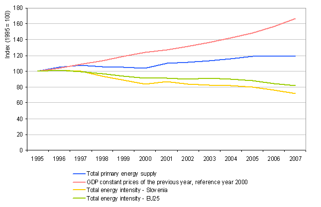 The trend of total energy consumption, GDP and total energy intensiveness in the period 1995–2007 relative to 1995 and comparison with the intensity trend in EU-25